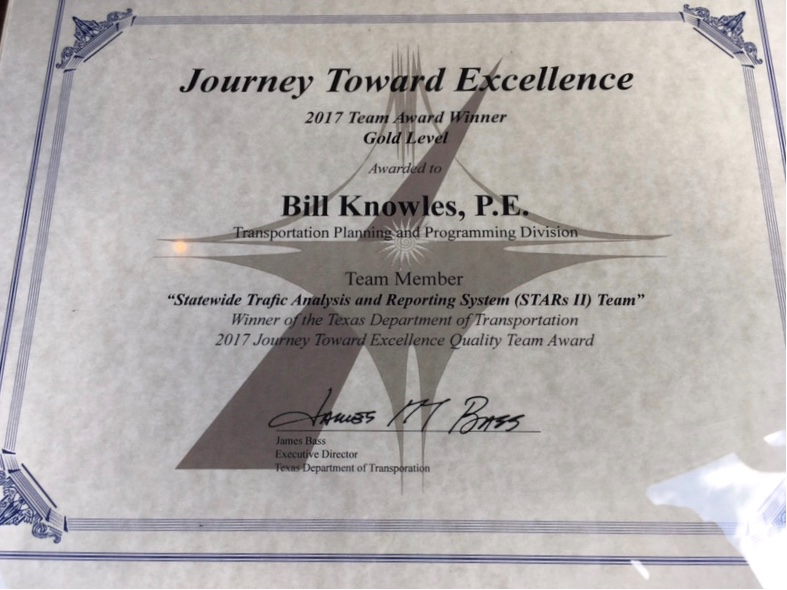 Journey Toward Excellence certificate
